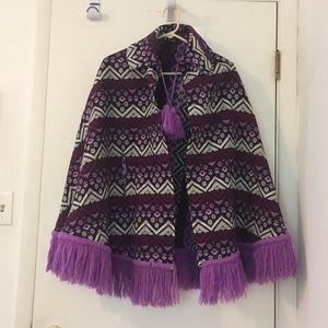 Women's Vintage 1960S Blue And Purple OS Poncho
